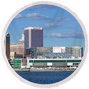Panoramic View Of Atlantic City, New Jersey Round Beach Towel