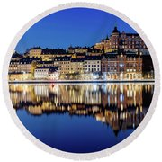 Perfect Sodermalm And Mariaberget Blue Hour Reflection Round Beach Towel