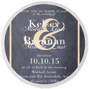 Personalized Wedding Invitation Round Beach Towel