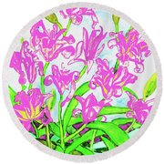 Pink Daily Lilies Round Beach Towel