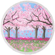 Pink Garden, Oil Painting Round Beach Towel