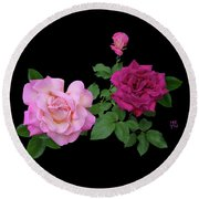 3 Pink Roses Cutout Round Beach Towel