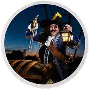 Pirate With A Treasure Chest Round Beach Towel by Oleksiy Maksymenko