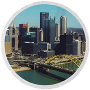Pittsburg Skyline Round Beach Towel