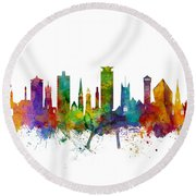 Plymouth England Skyline Round Beach Towel
