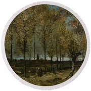 Poplars Near Nuenen Round Beach Towel