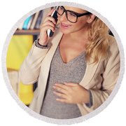 Pregnant Woman At Work Round Beach Towel