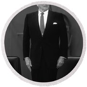 President Ronald Reagan Round Beach Towel by War Is Hell Store