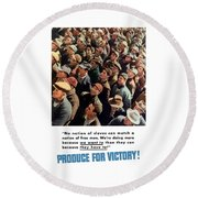 Produce For Victory Round Beach Towel