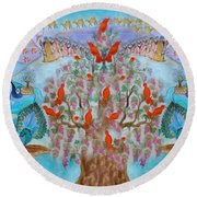 Prosperity And Blessing Round Beach Towel