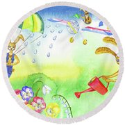 Rabbits And Flowers Round Beach Towel