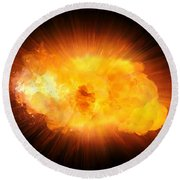 Realistic Fire Explosion, Orange Blast With Sparks Isolated On Black Background Round Beach Towel