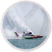 Roostertail From Racing Hydroplanes Boats On The Detroit River For Gold Cup Round Beach Towel
