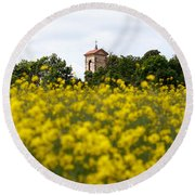 Ruins Of The Church Of St Wenceslas Round Beach Towel