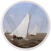 Sailboats Racing On The Delaware Round Beach Towel