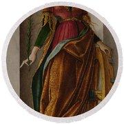 Saint Catherine Of Alexandria Round Beach Towel