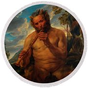 Satyr Playing The Pipe Round Beach Towel