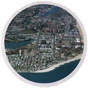 Seagate And Brighton Beach In Brooklyn Aerial Photo Round Beach Towel