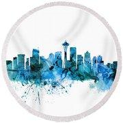 Seattle Washington Skyline Round Beach Towel