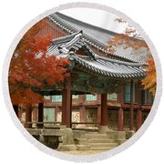 Seonamsa In Autumn Round Beach Towel