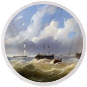 Ships On A Stormy Sea Round Beach Towel