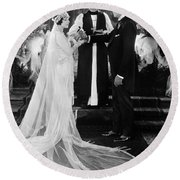 Silent Film Still: Wedding Round Beach Towel