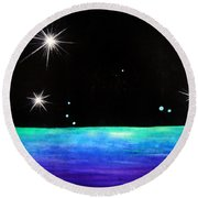3 Sisters - 3 Stars Dancing At Night Round Beach Towel