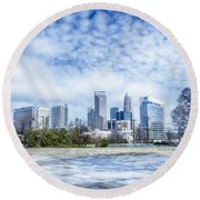 Snow And Ice Covered City And Streets Of Charlotte Nc Usa Round Beach Towel