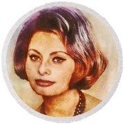 Sophia Loren, Vintage Hollywood Actress Round Beach Towel
