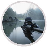 Special Operations Forces Combat Diver Round Beach Towel by Tom Weber