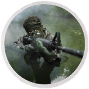 Special Operations Forces Soldier Round Beach Towel by Tom Weber