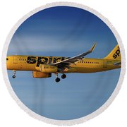 Spirit Airlines Airbus A320-232 Round Beach Towel