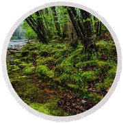 Spring Along Elk River Round Beach Towel