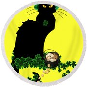 St Patrick's Day - Le Chat Noir Round Beach Towel by Gravityx9  Designs
