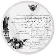 Statue Of Liberty, 1886 Round Beach Towel