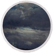 Stormclouds Over The Castle Tower In Dresden  Round Beach Towel