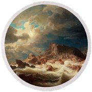 Stormy Sea With Ship Wreck Round Beach Towel