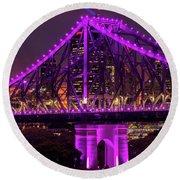 Story Bridge In Brisbane, Queensland Round Beach Towel