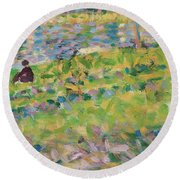 Study For Sunday Afternoon On The Island Of La Grande Jatte Round Beach Towel