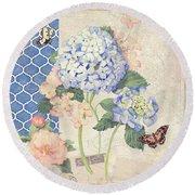 Summer Memories - Blue Hydrangea N Butterflies Round Beach Towel