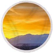 Sunrise Over Colorado Rocky Mountains Round Beach Towel
