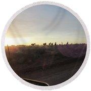 Sunset Horses Round Beach Towel