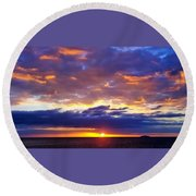 Sunset In Aguadillia Puerto Rico  Round Beach Towel