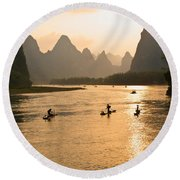 Sunset On The Li River Round Beach Towel