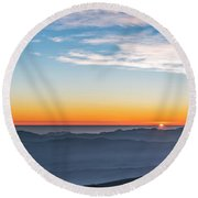 Sunset Over The La Silla Observatory Round Beach Towel