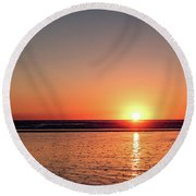 Sunset Over The Ocean Round Beach Towel