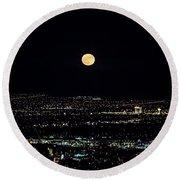 Super Moon In Las Vegas Round Beach Towel