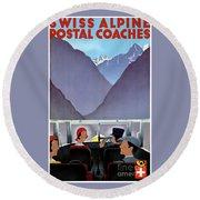Switzerland Vintage Travel Poster Restored Round Beach Towel