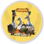 Thanksgiving Ducks Round Beach Towel
