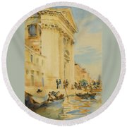 The Church Of The Gesuati Round Beach Towel